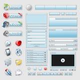 Conjunto azul del interfaz del Web 2.0 Imagen de archivo libre de regalías