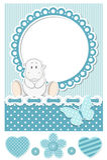 Conjunto azul del libro de recuerdos del hipopótamo feliz del bebé Foto de archivo libre de regalías