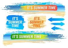 conjunto Bandera del verano, playa tropical, marco del color Imagen de archivo