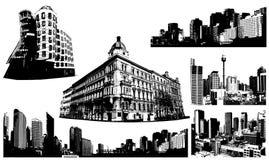Conjunto blanco y negro de la ciudad. Vector ilustración del vector