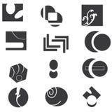 Conjunto blanco y negro del icono Fotografía de archivo libre de regalías