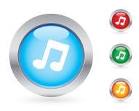 Conjunto brillante del botón de la música Fotografía de archivo libre de regalías