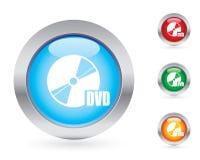 Conjunto brillante del botón del dvd Fotos de archivo libres de regalías