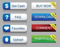 Conjunto brillante del botón del Web site Imágenes de archivo libres de regalías