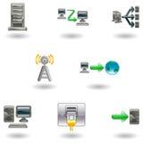 Conjunto brillante del icono de la red de ordenadores Imagen de archivo libre de regalías