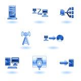 Conjunto brillante del icono de la red de ordenadores ilustración del vector