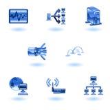 Conjunto brillante del icono de la red de ordenadores Fotos de archivo