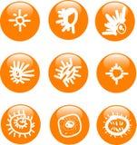 Conjunto brillante del icono del botón del sol   Imagen de archivo libre de regalías