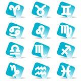 Conjunto brillante del icono del vector de las muestras del zodiaco Foto de archivo