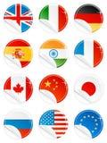 Conjunto brillante del indicador nacional de la etiqueta engomada del icono del botón Imagen de archivo libre de regalías