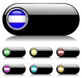 Conjunto brillante negro del botón Imagen de archivo libre de regalías