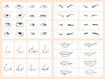 Conjunto cómico de la cara del doodle Fotos de archivo