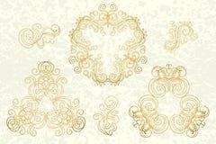 Conjunto caligráfico de la vendimia de los elementos Ornamento del marco del vector Foto de archivo libre de regalías