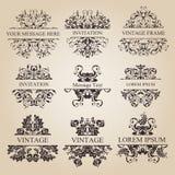 Conjunto caligráfico de la vendimia de los elementos Ornamento del marco del vector Imágenes de archivo libres de regalías
