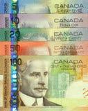 Conjunto canadiense actual de los billetes Imágenes de archivo libres de regalías