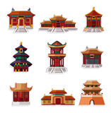 Conjunto chino del icono de la casa de la historieta ilustración del vector