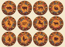 Conjunto chino del zodiaco Foto de archivo