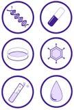 Conjunto científico y de la salud de la prueba del icono Fotografía de archivo libre de regalías