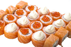 Conjunto clásico del rodillo de sushi aislado en blanco Fotografía de archivo libre de regalías