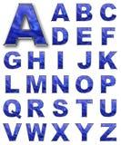 CONJUNTO, color del azul de las cartas alfabéticas Imagen de archivo libre de regalías