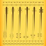 Conjunto coloreado de la vendimia de la barra de cortina Ilustración del Vector