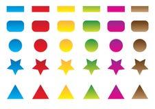 Conjunto coloreado del botón Fotografía de archivo libre de regalías