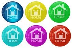 Conjunto coloreado del botón casero del Web Imágenes de archivo libres de regalías