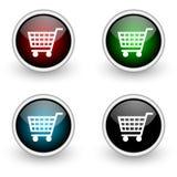 Conjunto coloreado del botón que hace compras Fotos de archivo libres de regalías
