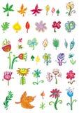 Conjunto colorido de flores y de le Imagenes de archivo