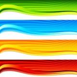 Conjunto colorido de la bandera de la salida del sol de la onda stock de ilustración