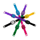 Conjunto colorido de relojes plásticos fotografía de archivo