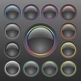Conjunto colorido del botón del cromo del vector Foto de archivo libre de regalías