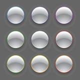 Conjunto colorido del botón del cromo del vector Fotografía de archivo