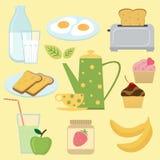 Conjunto colorido del desayuno Fotografía de archivo