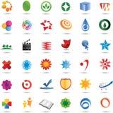 Conjunto colorido del diseño de la insignia de 36 vectores Imagenes de archivo