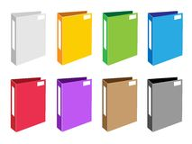 Conjunto colorido del ejemplo de iconos de la carpeta de la oficina stock de ilustración