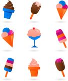 Conjunto colorido del helado Imagenes de archivo