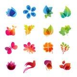 Conjunto colorido del icono de la naturaleza stock de ilustración
