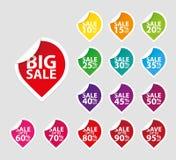 Conjunto colorido del icono de las etiquetas de la venta Imagen de archivo libre de regalías