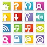 Conjunto colorido del icono del Web Imagen de archivo