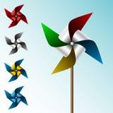 Conjunto colorido del molinillo de viento stock de ilustración