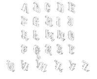 Conjunto completo de alfabeto isométrico Foto de Stock Royalty Free