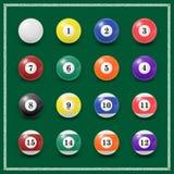 Conjunto completo de bolas de bilhar em um verde Imagem de Stock Royalty Free