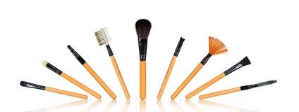 Conjunto completo de cepillos del maquillaje foto de archivo libre de regalías