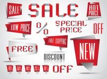 Conjunto completo de las etiquetas de las ventas Imagenes de archivo