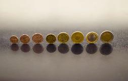 Conjunto completo de monedas euro Imágenes de archivo libres de regalías