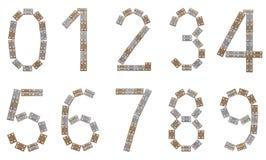 Conjunto completo del número hecho de corchetes metálicos Fotografía de archivo libre de regalías