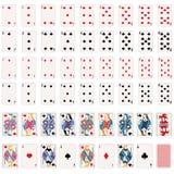 Conjunto completo do vetor de cartões de jogo ilustração stock