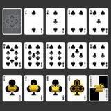 Conjunto completo dos cartões de jogo do terno do clube Imagem de Stock Royalty Free