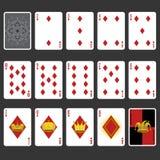 Conjunto completo dos cartões de jogo do terno do diamante Fotos de Stock Royalty Free